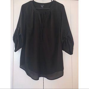 Torrid black quarter length sleeve blouse